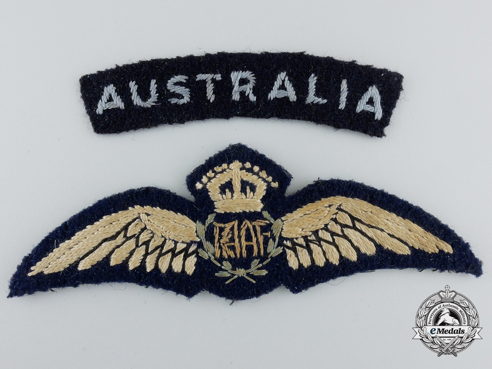 A Royal Australian Air Force (RAAF) Pilot Wings with Shoulder Flash