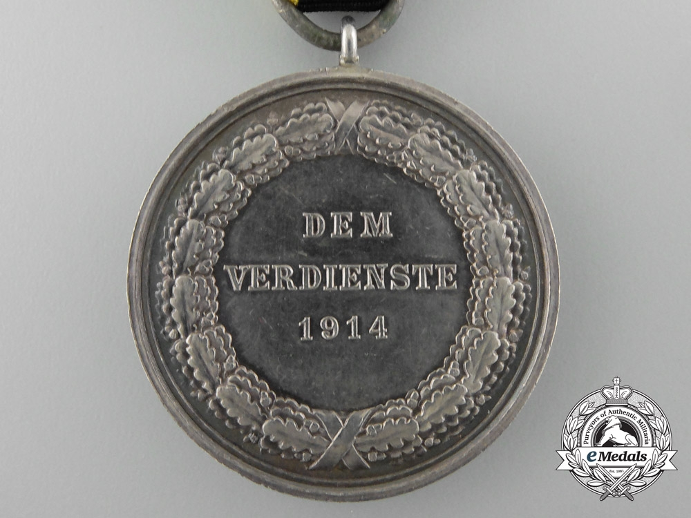 A 1914 Saxe-Weimar Silver Merit Medal; 990 Silver