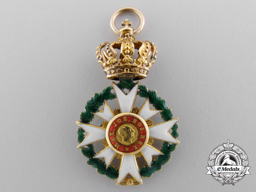 A Miniature Merit Order of Bavarian Crown in Gold c.1880