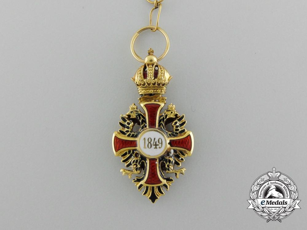 A Miniature Austrian Order of Franz Joseph Cross in 18k Gold