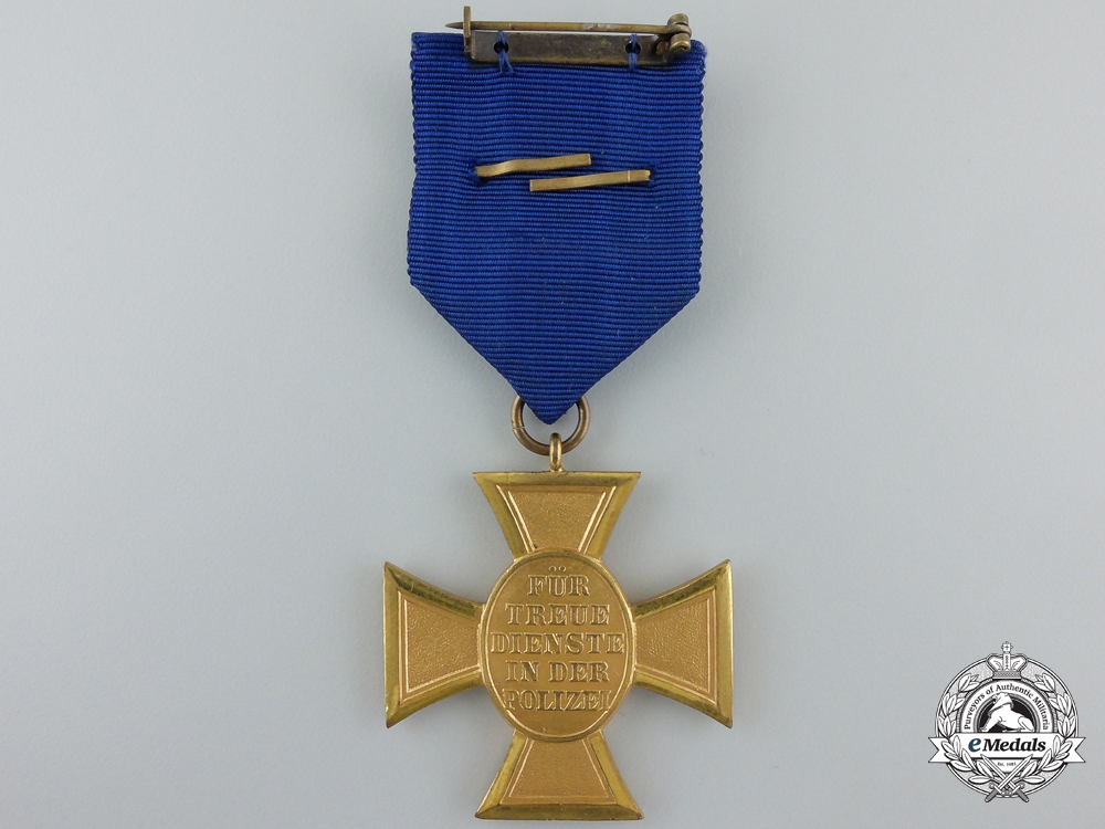 A German Police Long Service Cross; 1st Class for Twenty-Five Years' Service