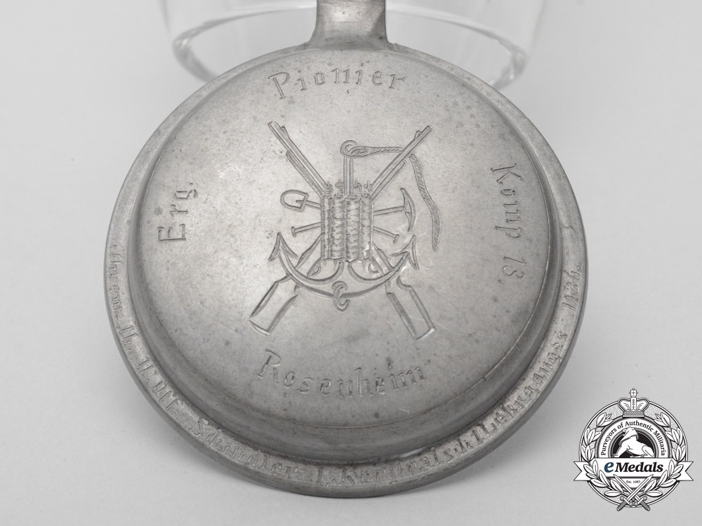 A 1936 Rosenheim 13th  Supplementary Pioneer Corps Beer Mug