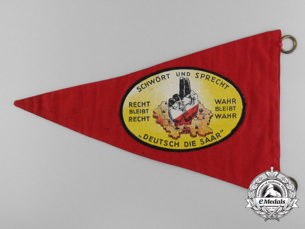 """A """"Hands Off The German Saarland"""" Pennant"""