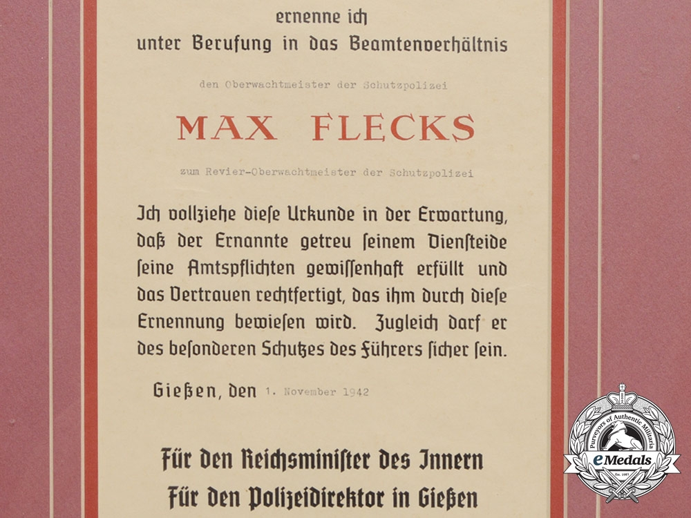 Germany, Police. A 1942 Framed Promotion Document for Revier-Oberwachtmeister