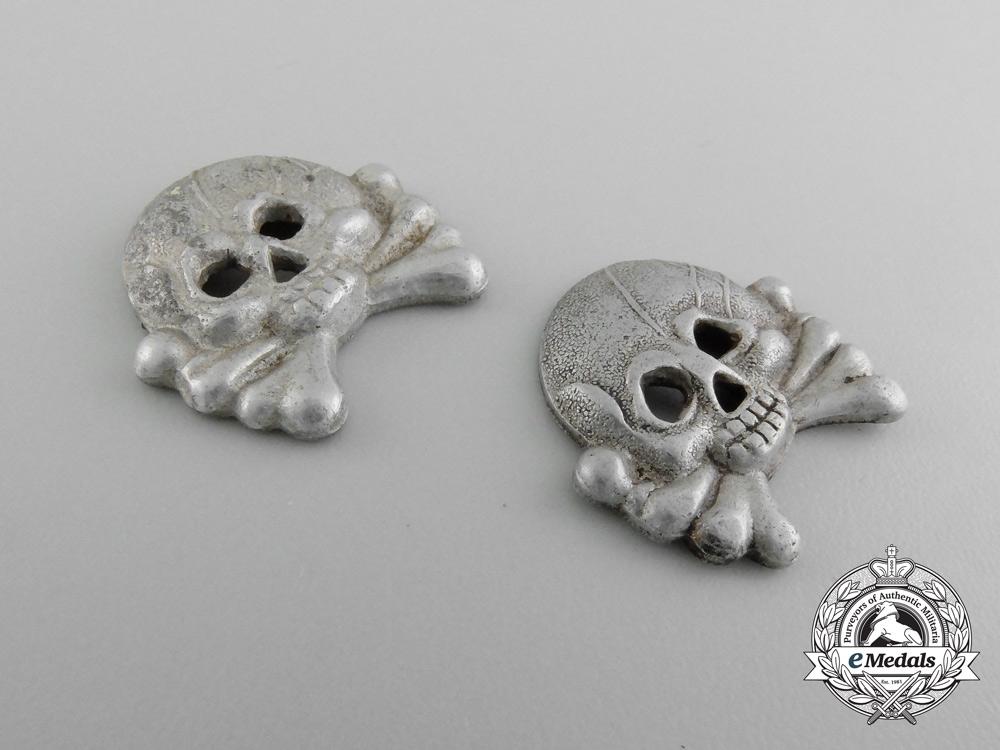 Two Army Panzer Collar Tab Skulls