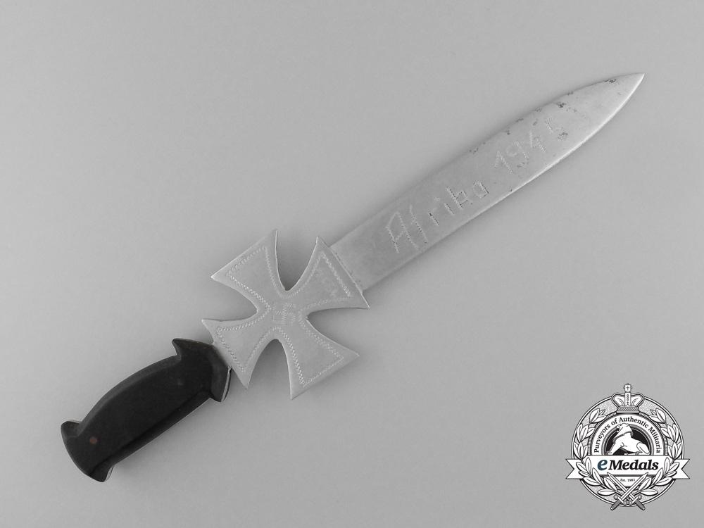 An Afrika Korps Trench Art Miniature Iron Cross Dagger