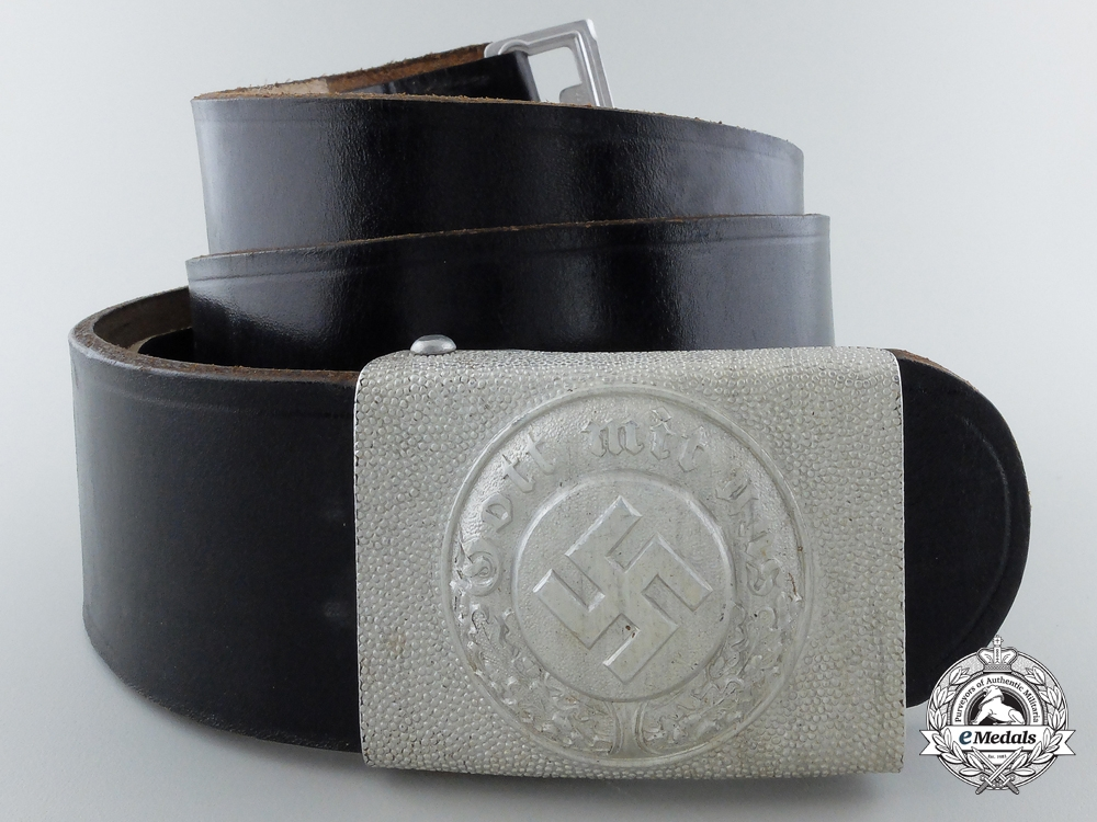 A Mint German Police EM Steel Buckle with Belt