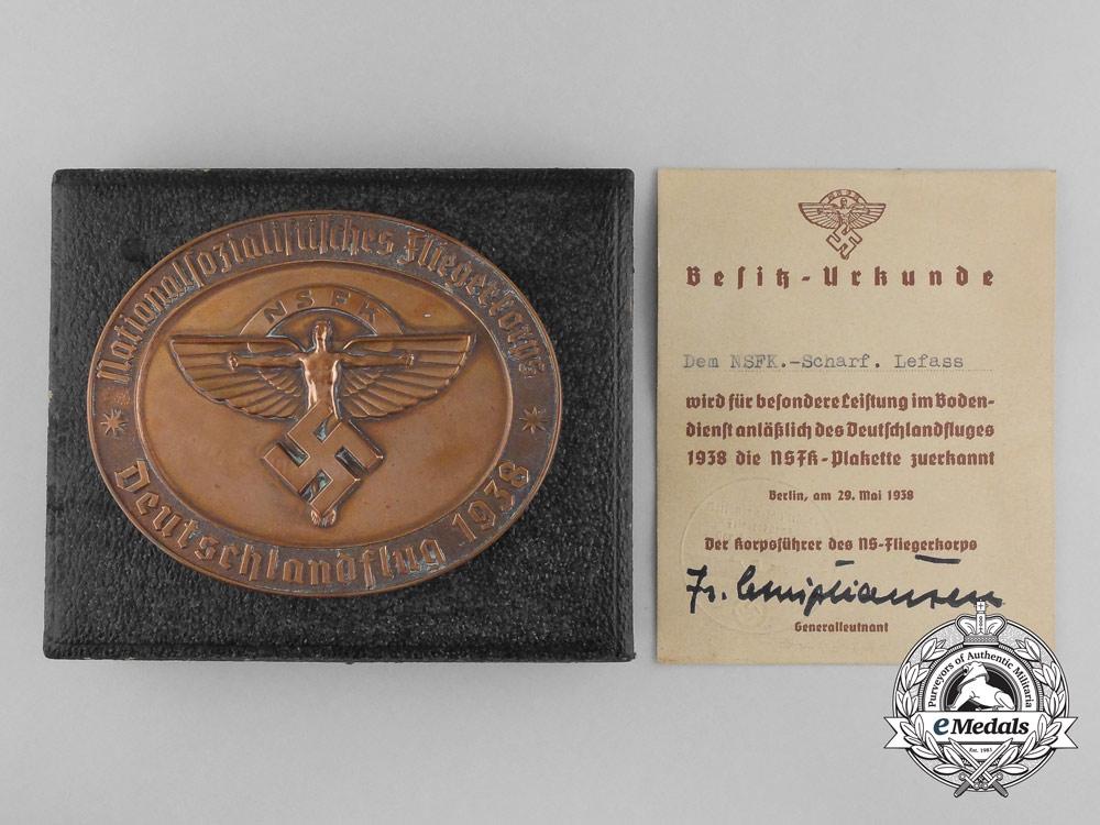 An NSFK Award Medallion 1938 with Award Document and Case