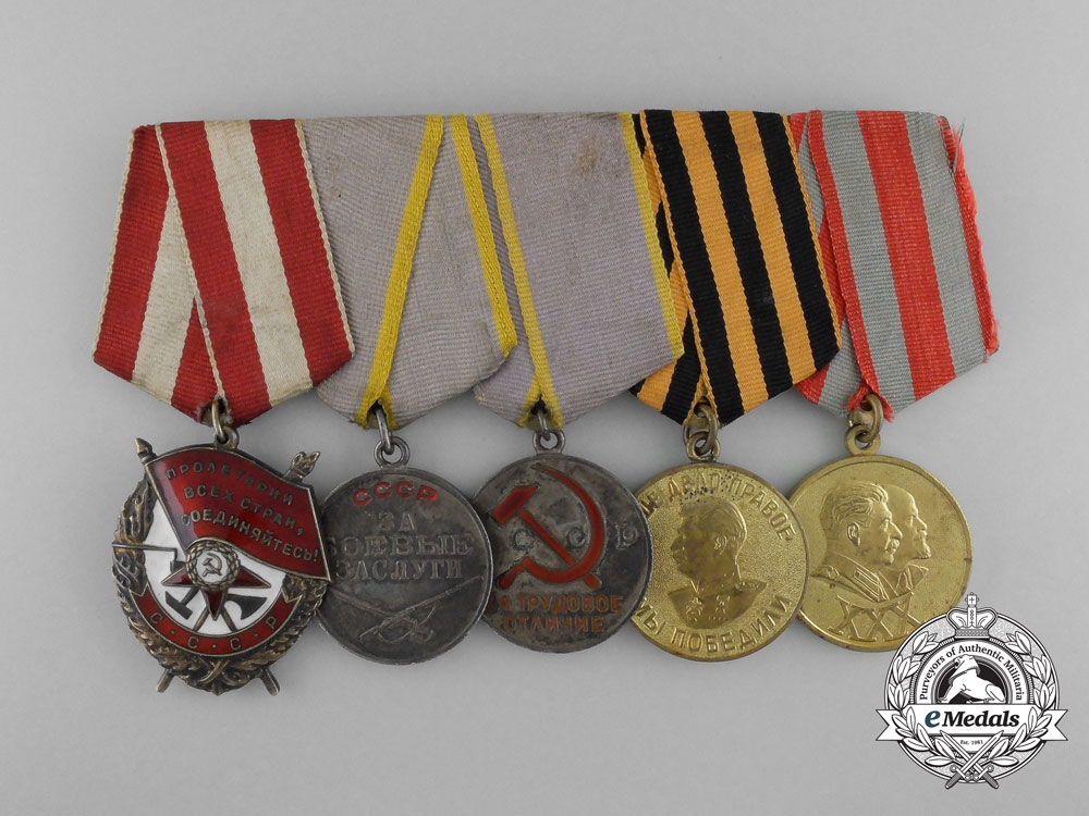 A Soviet Russian Order of the Red Banner Medal Grouping