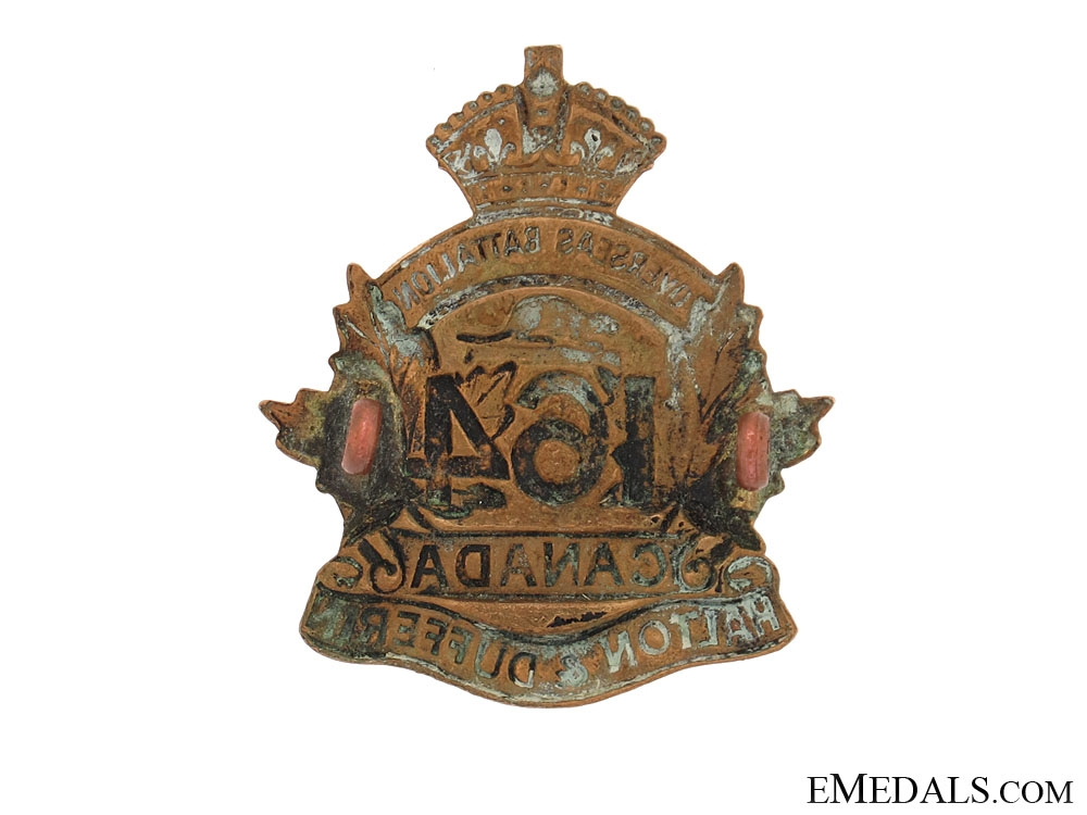 "WWI 164th Infantry Battalion ""Halton and Dufferin Battalion"" Cap Badge"
