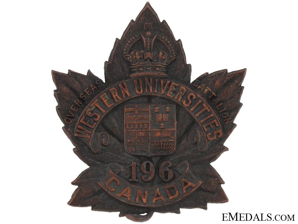 196th Battalion (Western Universities) Cap Badge, CEF