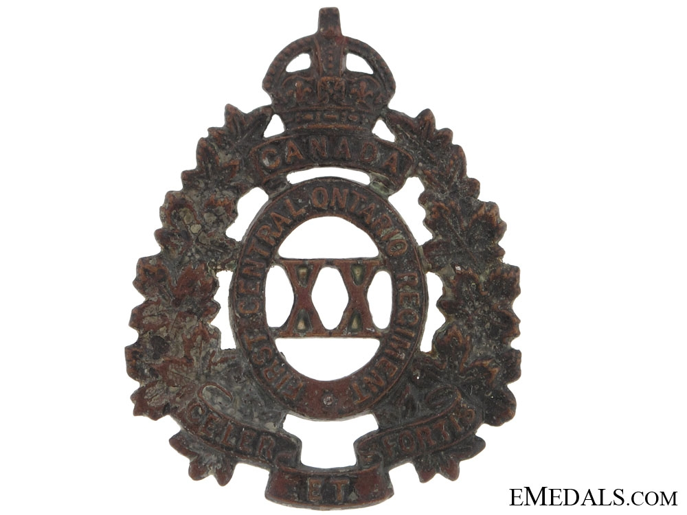 20th Battalion (First Central Ontario) Cap Badge, CEF