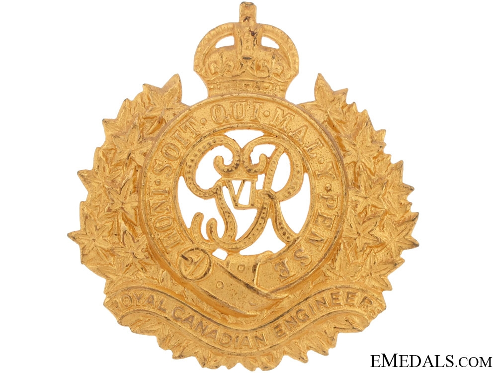 An Officer's Royal Canadian Engineers Cap Badge