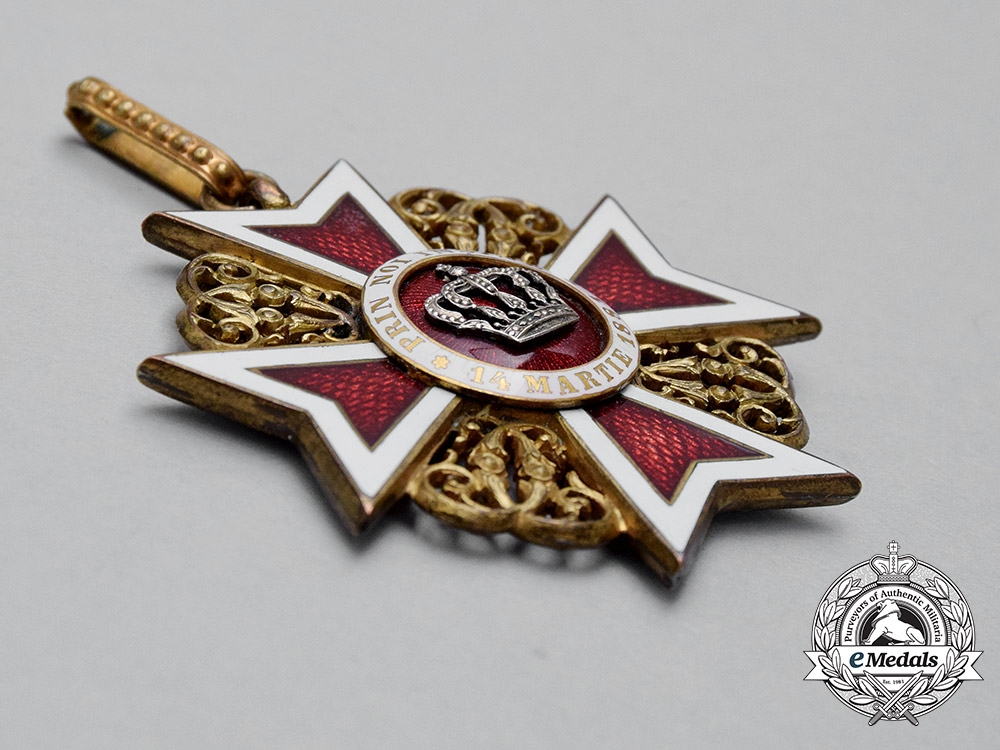 A Romanian Order of the Crown, Commander's Neck Badge, Type I (1881-1932), Civil