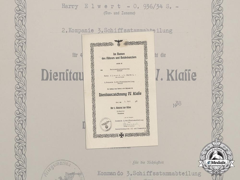 A 4th Class Long Service Award Document to Matrosenhauptgefreiter Elwert