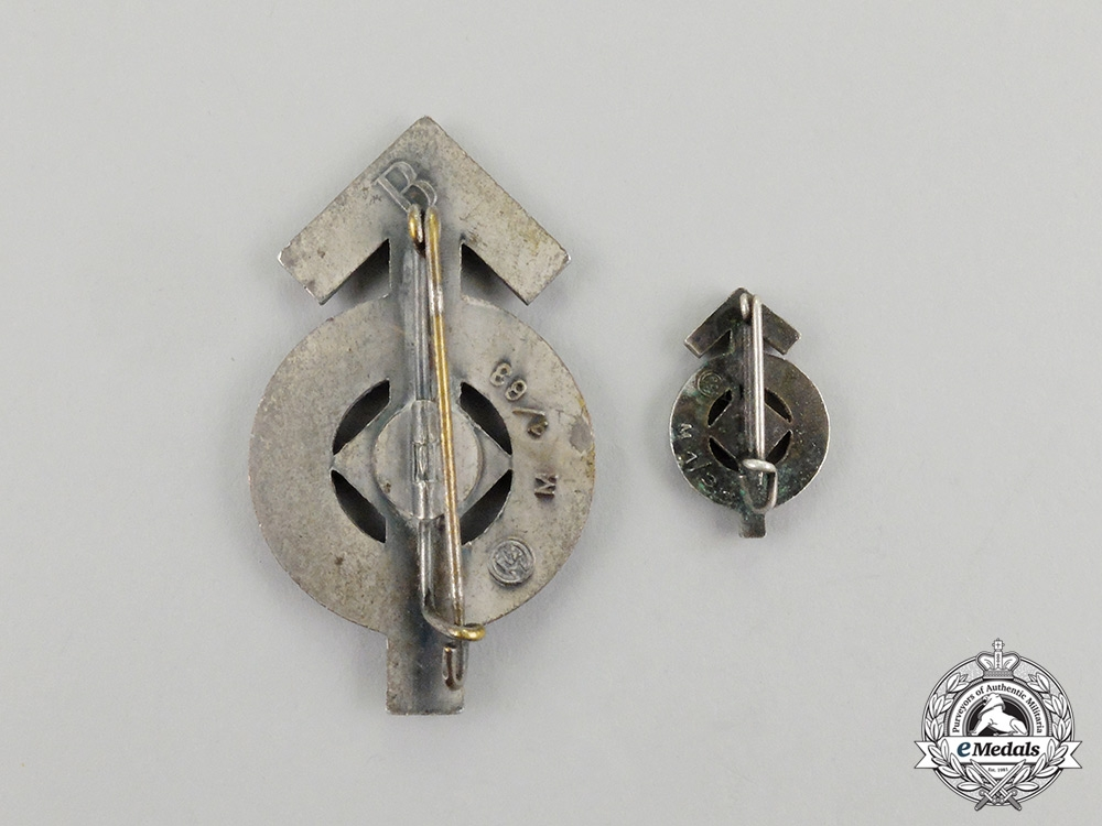 A Pair of Silver Grade HJ Proficiency Badges; Maker Marked