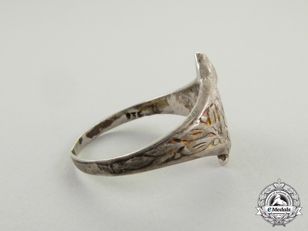 A German Imperial Silver Military Pilot Badge Ring