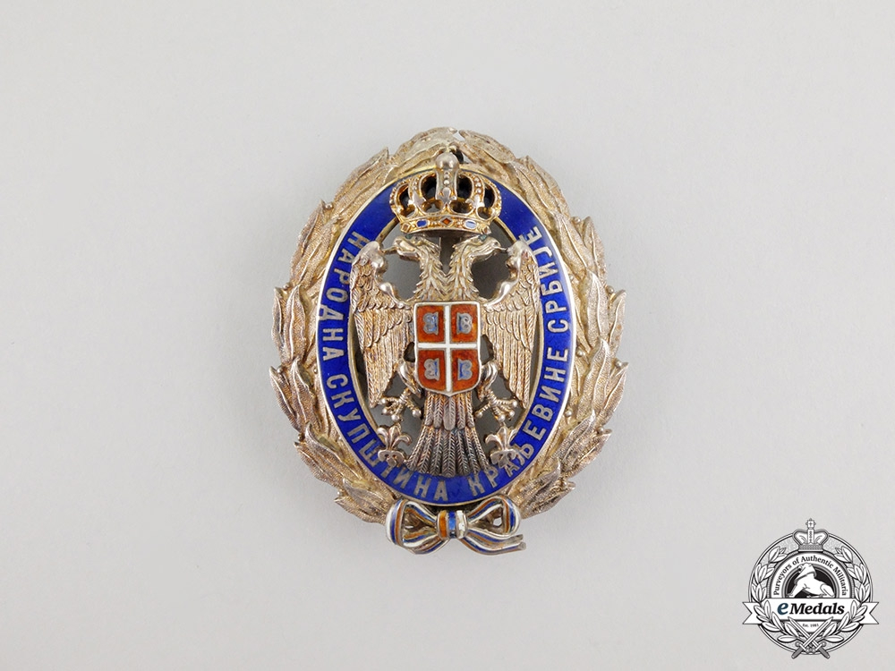 """Serbia, Kingdom. A Rare Badge of the Member of the """"The National Assembly"""""""