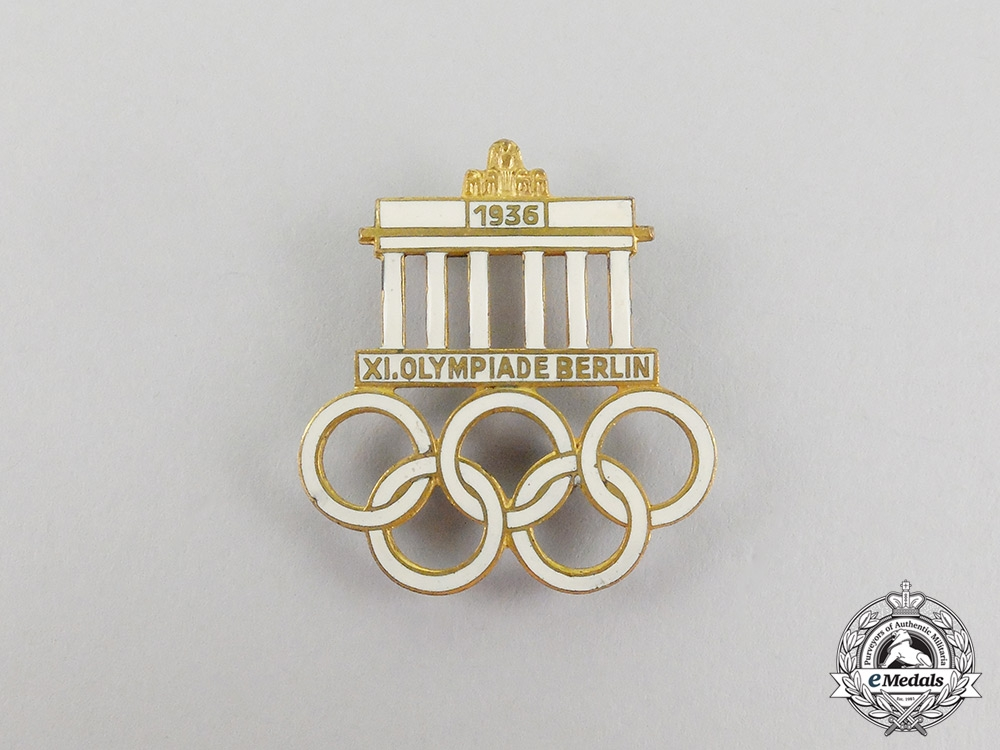 Two 1936 Berlin Olympic Games Event Badges and Stick Pins