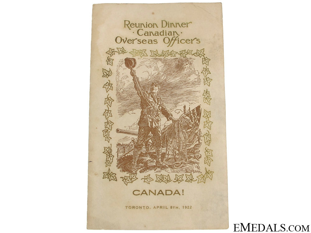 CEF Officers Dinner Programme 1922 - Byng & Currie Signed