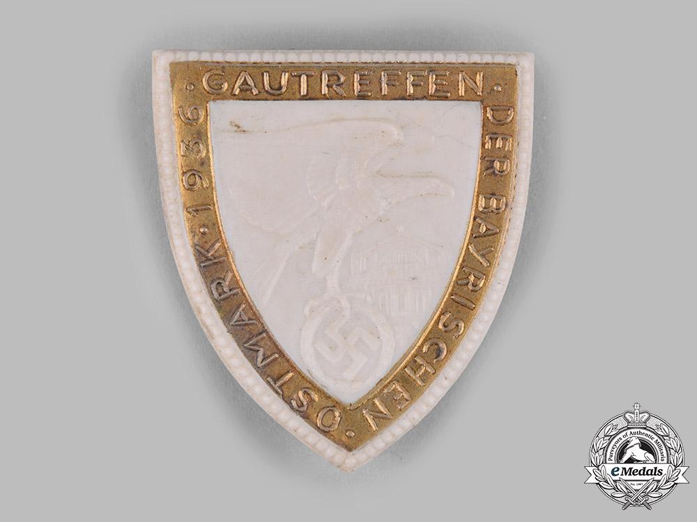 Germany, NSDAP. A 1936 Bavarian Ostmark NSDAP Regional Meeting Badge by Hutschenreuther