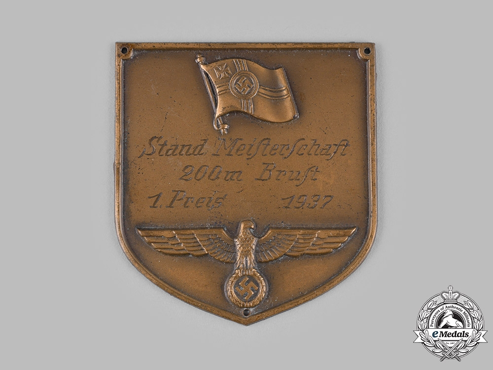 Germany, Wehrmacht. A 1937 Sports Competition 200 Meter Swimming 1 Prize Plaque