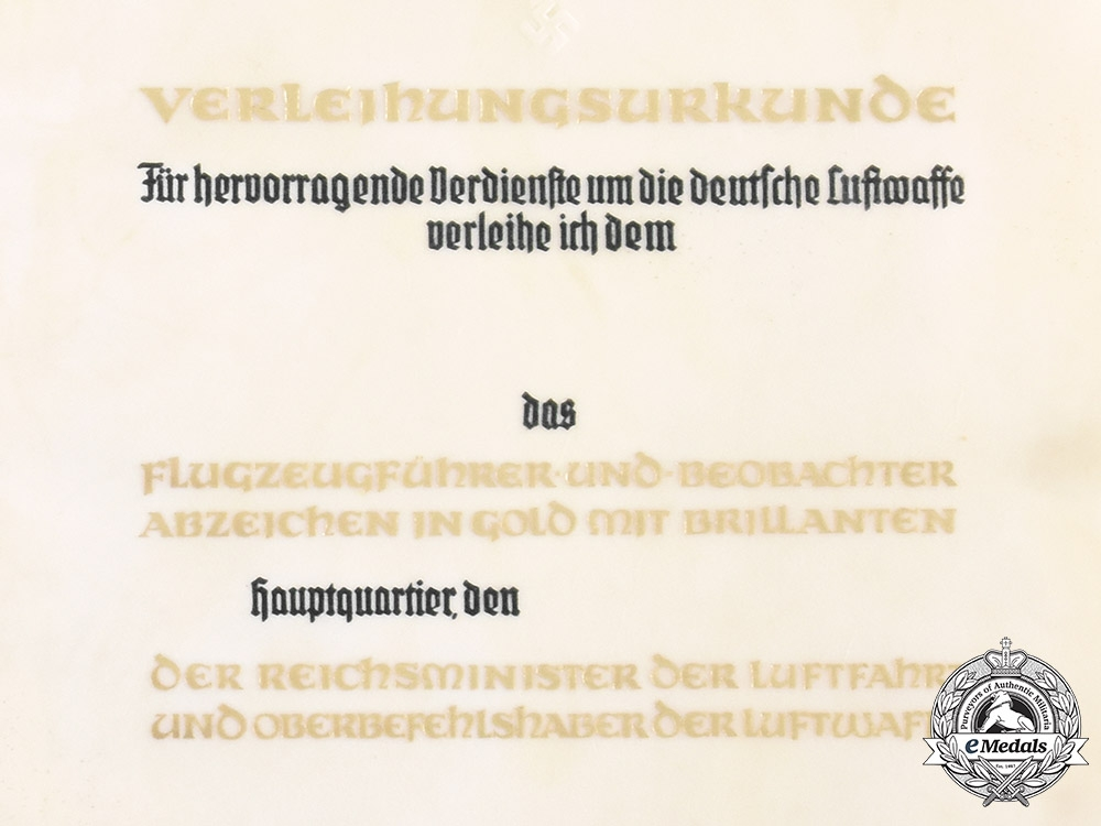 Germany, Luftwaffe. A Pilot Observer's Badge in Gold & Diamonds Award Document