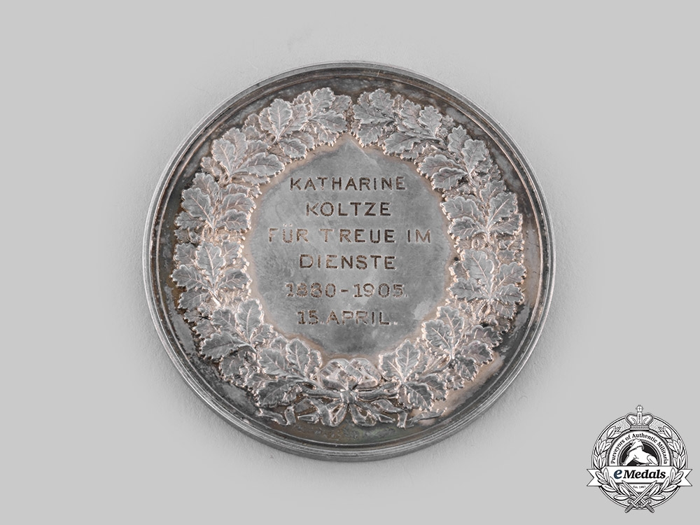 Lübeck, Free City. A Silver Table Medal for Loyal Service, c.1905