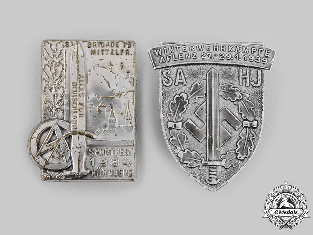 Germany, SA. A Pair of Sturmabteilung (SA) Event Badges