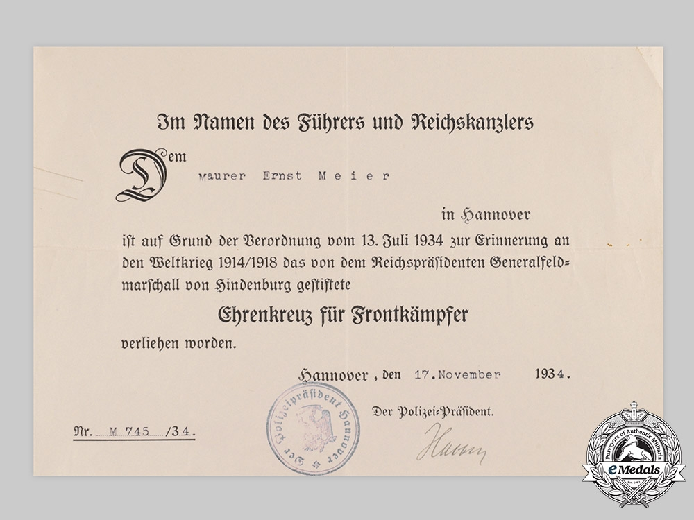 Germany, Imperial. A Lot of Awards and Documents to Ernst Meier