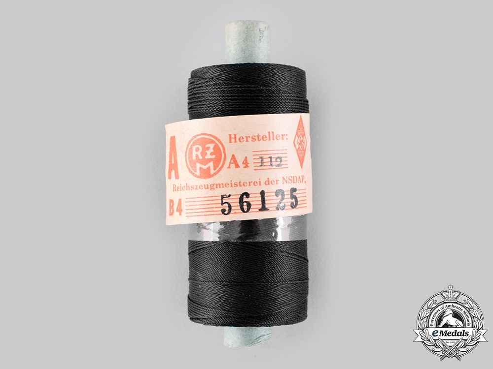 Germany, HJ. A Spool with a Length of Original RZM-Marked HJ Black Thread