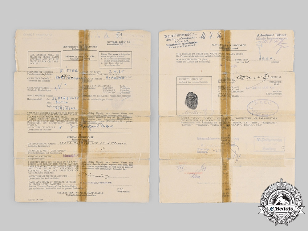 Germany, Heer. A Lot of Award and Service Documents to Unteroffizier Hans-Gerhard Ritter