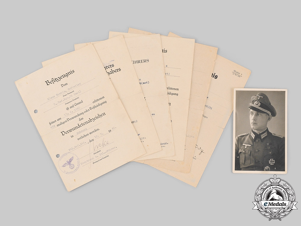 Germany, Wehrmacht. A Group of Award Documents to Leutnant Klaus Horeis