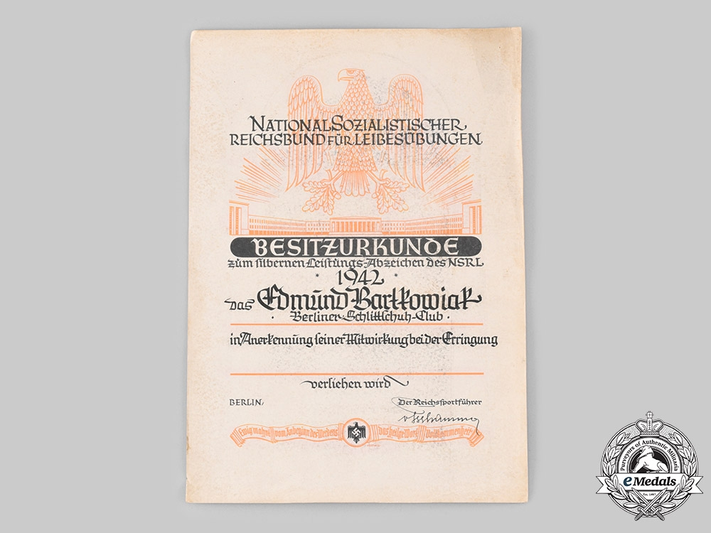 Germany, NSRL. An Award Document for a NSRL Athletic Badge in Silver to Edmund Bartkowiak, Berliner Schlittschuhclub