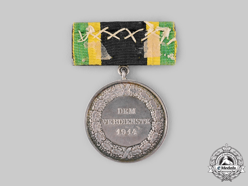 Saxe-Weimar, Grand Duchy. A General Merit Medal in Silver 1914 with Sword Clasp, c.1915
