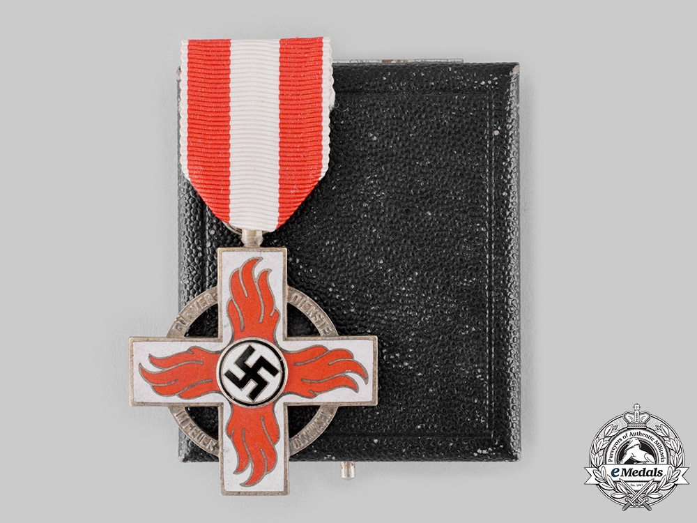Germany, Third Reich. A Fire Brigade Honour Cross, II Class with Case, by Karl Wurster