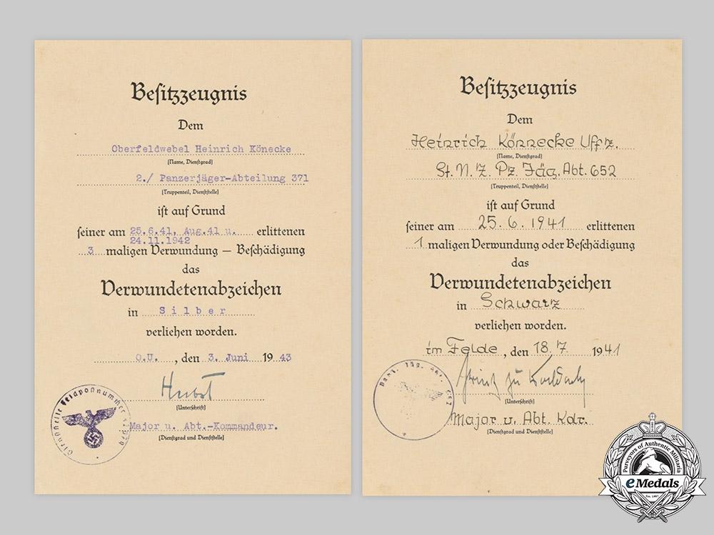 Germany, Wehrmacht. A Lot of Award Documents, Leutnant Könecke, Panzer-Jäger-Abteilung 652/371