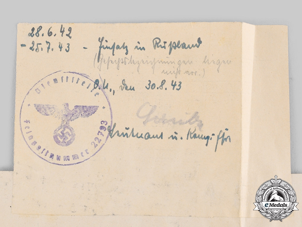 Germany, Heer. A Wehrpaß to Hermann Scheidel, KIA on the Eastern Front