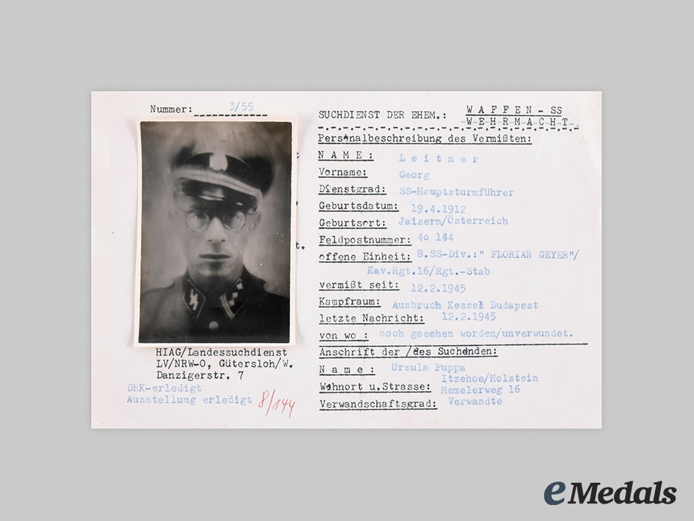 Germany, SS. A HIAG Missing Persons Report for SS-Hauptsturmführer Georg Leitner