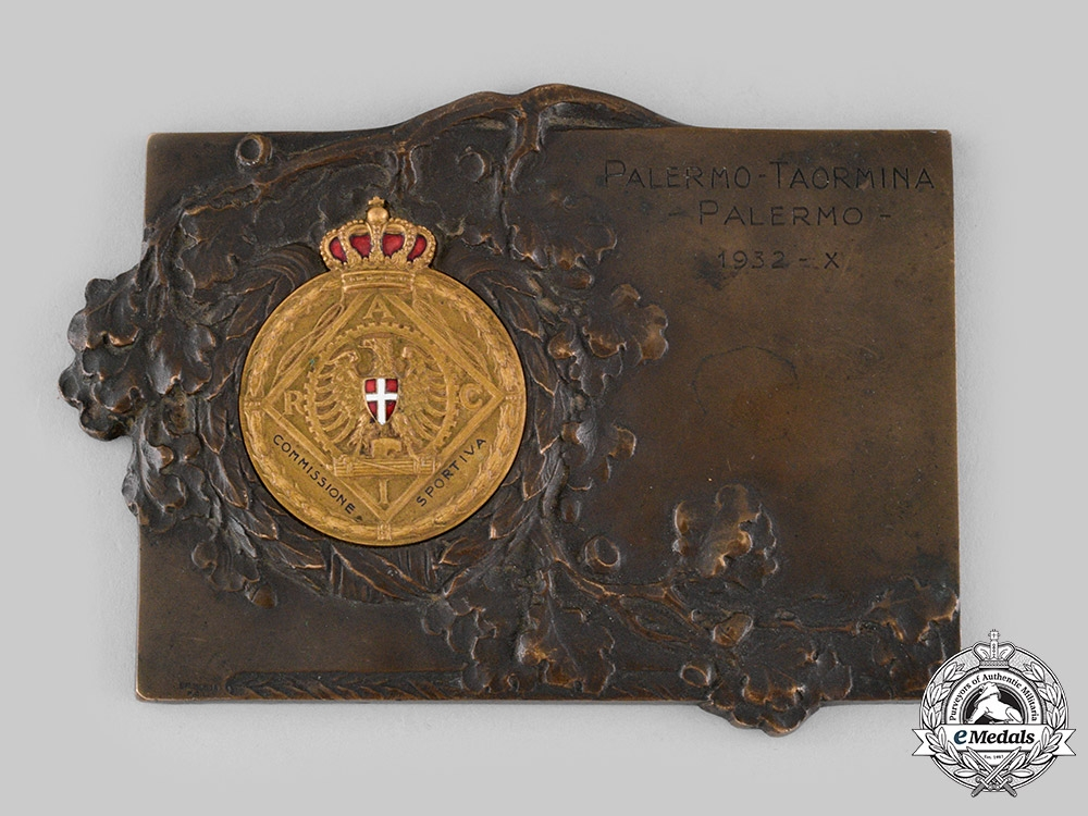 Italy, Kingdom. A Royal Italian Automobile Club (RACI) Sport Award Plaque 1932