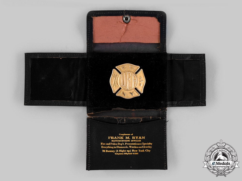 United States. A Fireman's Association of NYC Gold Award Badge, 1933