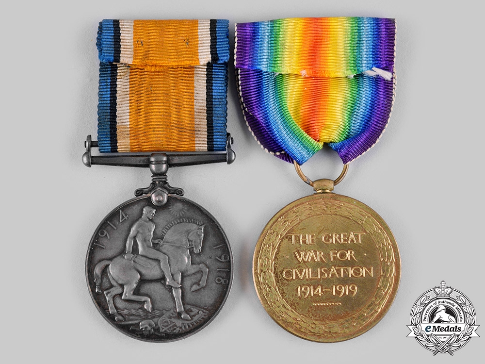 Canada, CEF. A First War Pair, to Private Carson, 15th Battalion, Wounded at Battle of Vimy Ridge