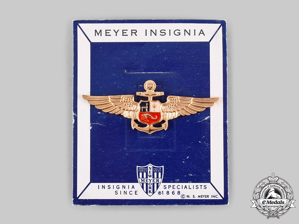 Peru, Republic. An Air Force Pilot Badge, by N.S.Meyer, New York