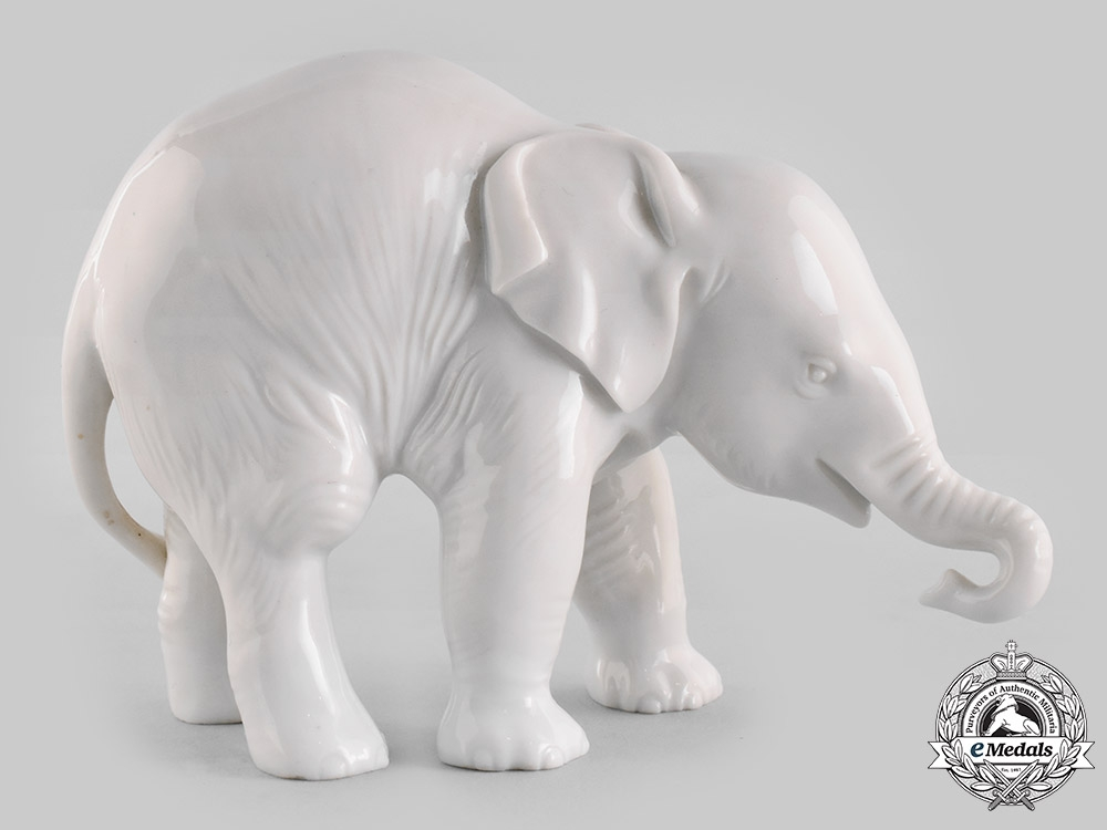 Germany, SS. A SS-Allach Standing Elephant Figurine by Theodor Kärner