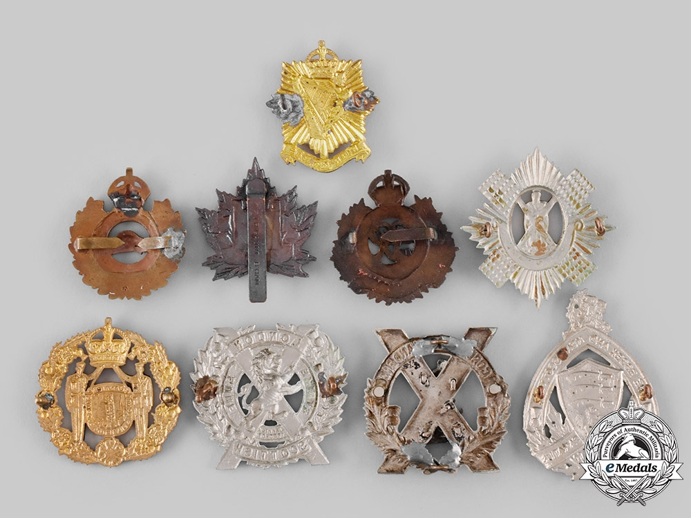 Canada, United Kingdom, Jamaica. Nine First and Second War Badges