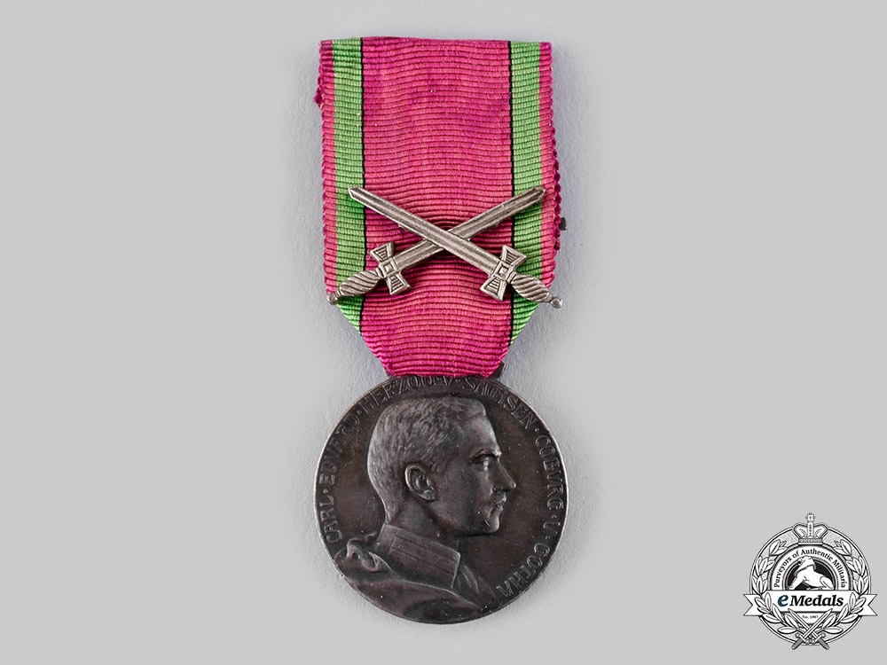 Saxe-Coburg and Gotha, Duchy. A Saxe-Ernestine House Order, Silver Merit Medal with Swords
