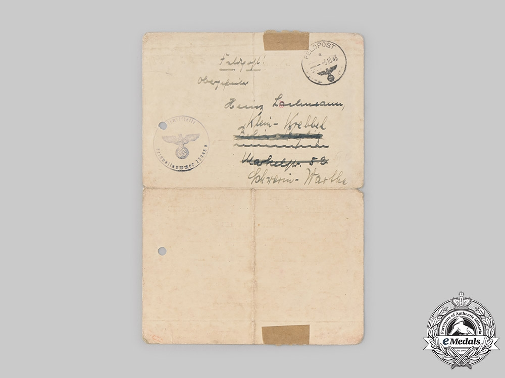 Germany, Wehrmact. A Wound Badge Black Grade Document to Senior Lance Corporal Heinz Lachmann, 1943