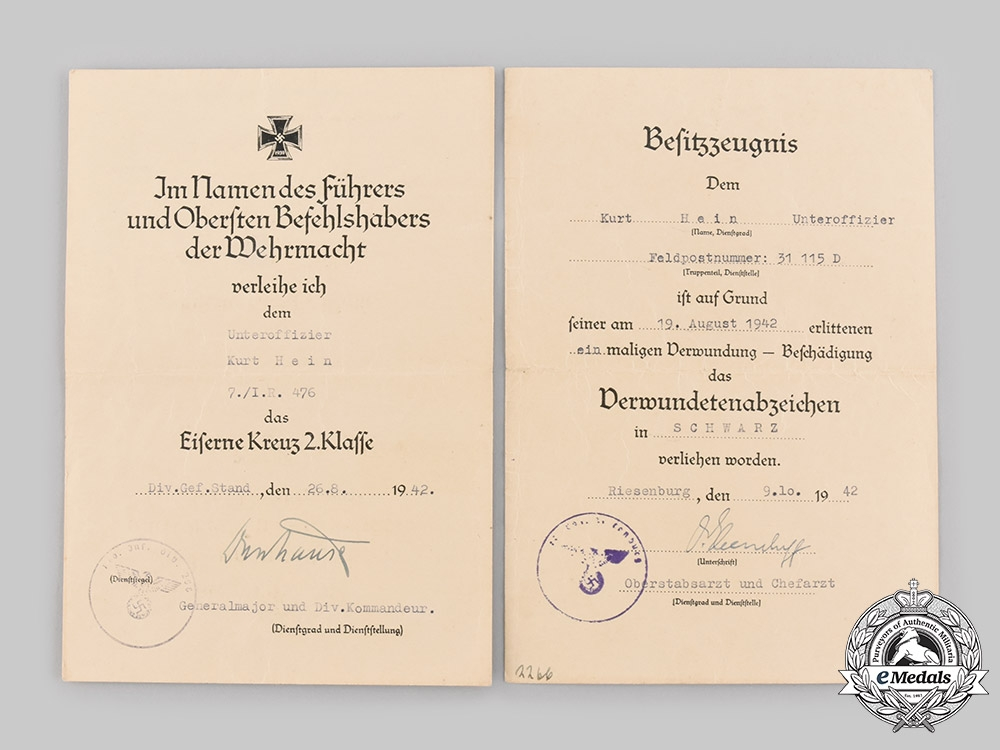 Germany, Heer. A Pair of Award Documents to NCO Kurt Hein (WIA), 1942