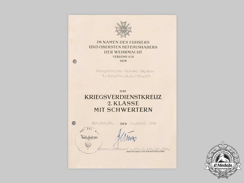 Germany, Heer. A War Merit Cross II Class with Swords Award Document to Senior Lance-Corporal Friedel Snyders, 1944