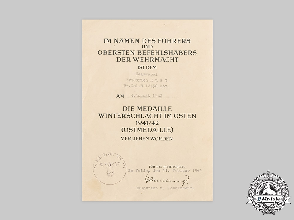 Germany, Heer. An Eastern Front Medal Award Document to Sergeant Friedrich Rust, 1944